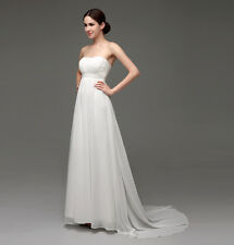 Women Chiffon Strapless Wedding Dress Bridesmaid Dress Formal Evening Dress Gown