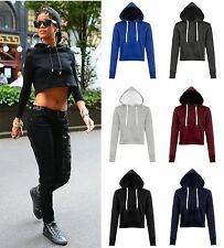 NEW WOMENS LADIES PLAIN HOODED CROP TOP LONG SLEEVE PULLOVER CROPPED SWEATSHIRT