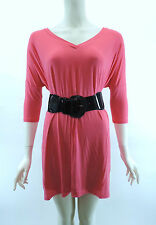 PIKO Hot Pink D2803 Tunic Authentic Soft Loose Top Bamboo V Neck 3/4 Sleeve SML