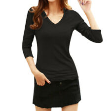 Ladies Long Sleeves V Neckline Slim Fit Tee Shirt