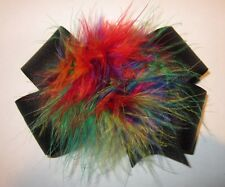 Girls Baby Boutique Hair Bow Marabou Puff Rainbow Feather Hairbow Pageant Large