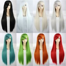UK Ship Full Wig Long Curly Straight Cosplay Party Fancy Dress Grey Brown Red P4