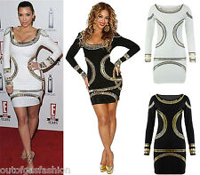 WOMENS BEYONCE INSPIRED GOLD FOIL PLUS SIZE BODYCON CELEB KIM K MIDI DRESS 8-24