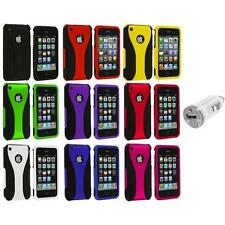 Color Black 3-Piece Rubberized Hard Case+USB Charger for iPhone 3G 3GS Accessory