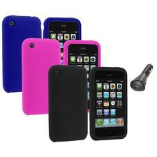 Color Silicone Rubber Gel Skin Case Cover+Car Charger for Apple iPhone 3G 3GS