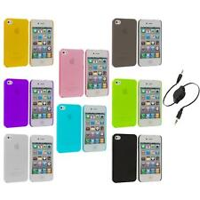 0.3mm Color Super Ultra Thin Hard Frost Case Skin+Aux Cable for iPhone 4 4G 4S