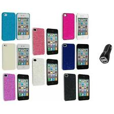 Bling Glitter Sparkly Ultra Thin Hard Back Cover+2.1A Charger for iPhone 4 4G