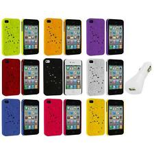 3D Rose Flower Color Hard Rubberized Cover Case+White Charger for iPhone 4 4S 4G