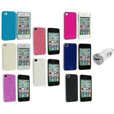 Bling Glitter Sparkly Ultra Thin Hard Back Cover+USB Charger for iPhone 4 4G