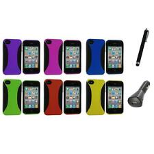 Color Hybrid Dual Flex Hard TPU Case Skin Cover+Charger+Pen for iPhone 4 4S 4G