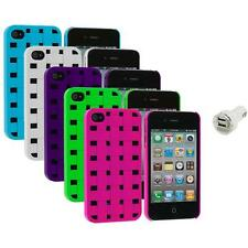 Color Basket Weave Hard Snap-On Rubberized Case+Dual Charger for iPhone 4 4S 4G