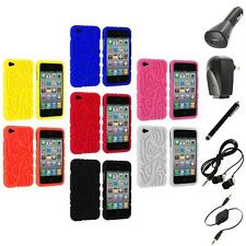 Color Totem Tribal Silicone Rubber Case Cover+Accessories for iPhone 4 4S 4G