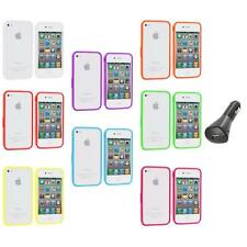 Bumper TPU Solid Jelly Color Rubber Skin Case+Car Charger for iPhone 4 4S 4G