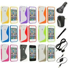 TPU Color Clear S-Shape S-Line Rubber Case Cover+Accessories for iPhone 4S 4G 4