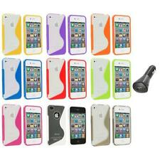 TPU Color Clear S-Shape S-Line Rubber Case Cover+Car Charger for iPhone 4S 4G 4