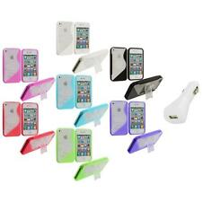 Color Clear TPU Hybrid S-Line Case Cover Stand+White Charger for iPhone 4 4G 4S