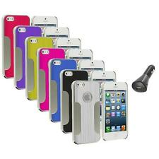 Luxury Brushed Aluminum Chrome Hard Case Cover+Car Charger For iPhone 5 5S