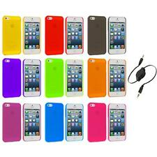 Ultra Thin 0.5mm Color Transparent Matte Case Cover+Aux Cable for iPhone 5 5S