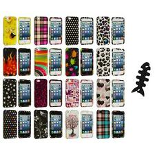 Design Color Hard Snap-On Rubberized Case Cover+Cable Wrap for iPhone 5 5S