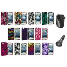 Zebra Design Hard Snap-On Rubberized Case Cover+2X Chargers for iPhone 5 5S