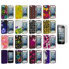 Color Design Hard Snap-On Rubberized Case Cover+Screen Protector for iPhone 5 5S