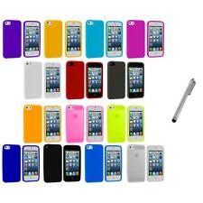 Color Silicone Gel Rubber Soft Skin Case Cover+Metal Pen for iPhone 5 5S