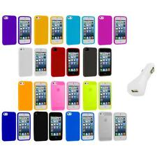 Color Silicone Gel Rubber Soft Skin Case Cover+White Charger for iPhone 5 5S