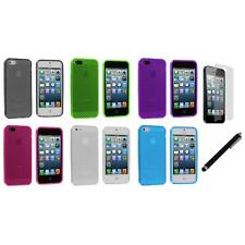 TPU Mesh Perforated Color Rubber Case Cover+LCD Film+Stylus for iPhone 5 5S 5th