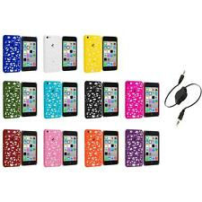 For Apple iPhone 5C Color Birds Nest Slim Hard Snap-On Case Cover+Aux Cable