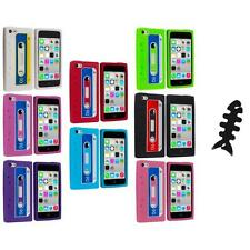 For Apple iPhone 5C Silicone Case Cassette Retro Tape Cover Gel+Cable Wrap