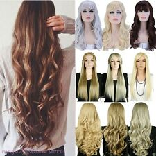 UK Long Full Wigs Curly Straight Party Daily Dress Black Blonde Golden Brown N11
