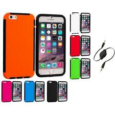 For iPhone 6 Plus (5.5) Hybrid Shockproof Armor Case Cover Aux Cable
