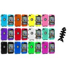 DELUXE COLOR BLACK CASE FOR IPOD TOUCH 4 4G 4TH GEN+PROTECTOR+CABLE WRAP