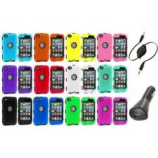 DELUXE COLOR BLACK CASE FOR IPOD TOUCH 4 4G 4TH GEN+PROTECTOR+AUX+CHARGER