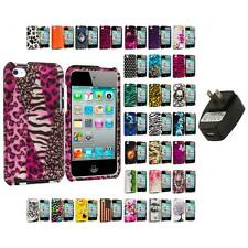 For iPod Touch 4th Generation 4G 4 Hard Design Skin Case Cover Wall Charger