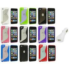 TPU S-Line Deluxe Rubber Case Cover+White Charger for iPod Touch 4th Gen 4G 4
