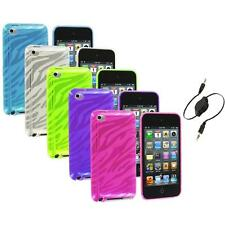 TPU Zebra Rubber Skin Case Cover+Aux Cable for iPod Touch 4th Gen 4G 4