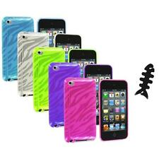 TPU Zebra Rubber Skin Case Cover+Cable Wrap for iPod Touch 4th Gen 4G 4