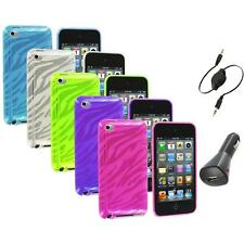 TPU Zebra Rubber Skin Case Cover+Aux+Charger for iPod Touch 4th Gen 4G 4