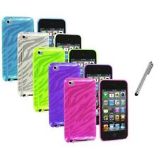 TPU Zebra Rubber Skin Case Cover+Metal Pen for iPod Touch 4th Gen 4G 4