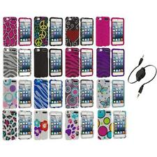 Colorful Bling Diamond Hard Case Cover+Aux Cable for iPod Touch 5th Gen 5G