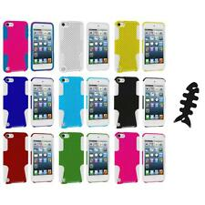 Hybrid Mesh Hard/Soft Skin Case Cover+Cable Wrap for iPod Touch 5th Gen 5G 5