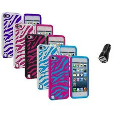 Zebra Hybrid Hard Soft Case Cover+2.1A Charger for iPod Touch 5th Gen 5G