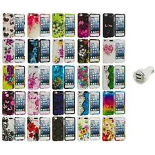 Flower Design Hard Rubberized Case Cover+Dual Charger for iPod Touch 5th Gen 5G