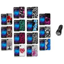 Design Hard Snap-On Rubberized Case Cover+2.1A Charger for Blackberry Z10 Phone