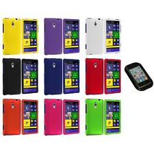 For HTC Windows Phone 8XT Color Hard Snap-On Rubberized Case Cover+Sticky Pad