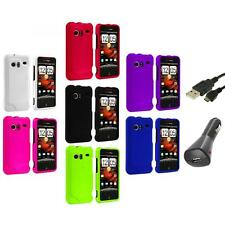 Color Hard Rubberized Case Cover+Charger+USB for HTC Droid Incredible 6300