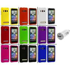 Color Hard Snap-On Rubberized Case Cover+USB Charger for HTC Sprint EVO 4G
