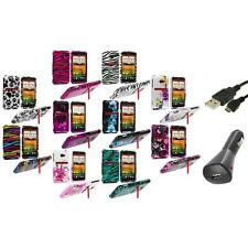 Design Hard Snap-On Case Cover Accessory+Charger+USB for HTC EVO 4G LTE Sprint