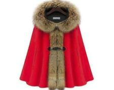 Womens Winter Cloak Cashmere Poncho Coat Mink Fur Collar Wool Batwing Cape Parka